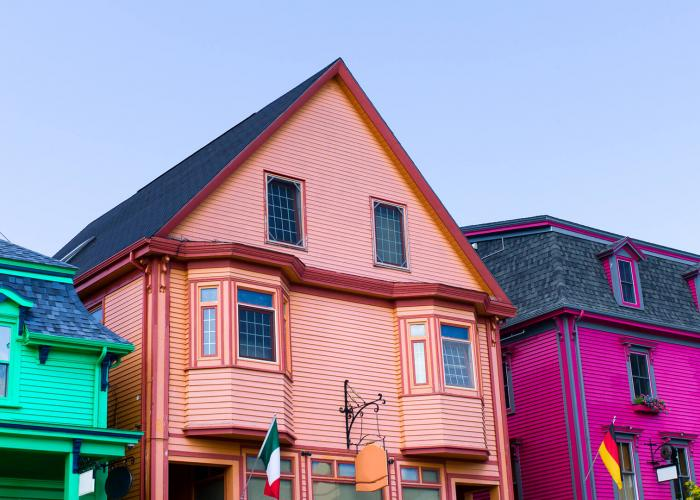Colourful buildings in old town Lunenburg.
