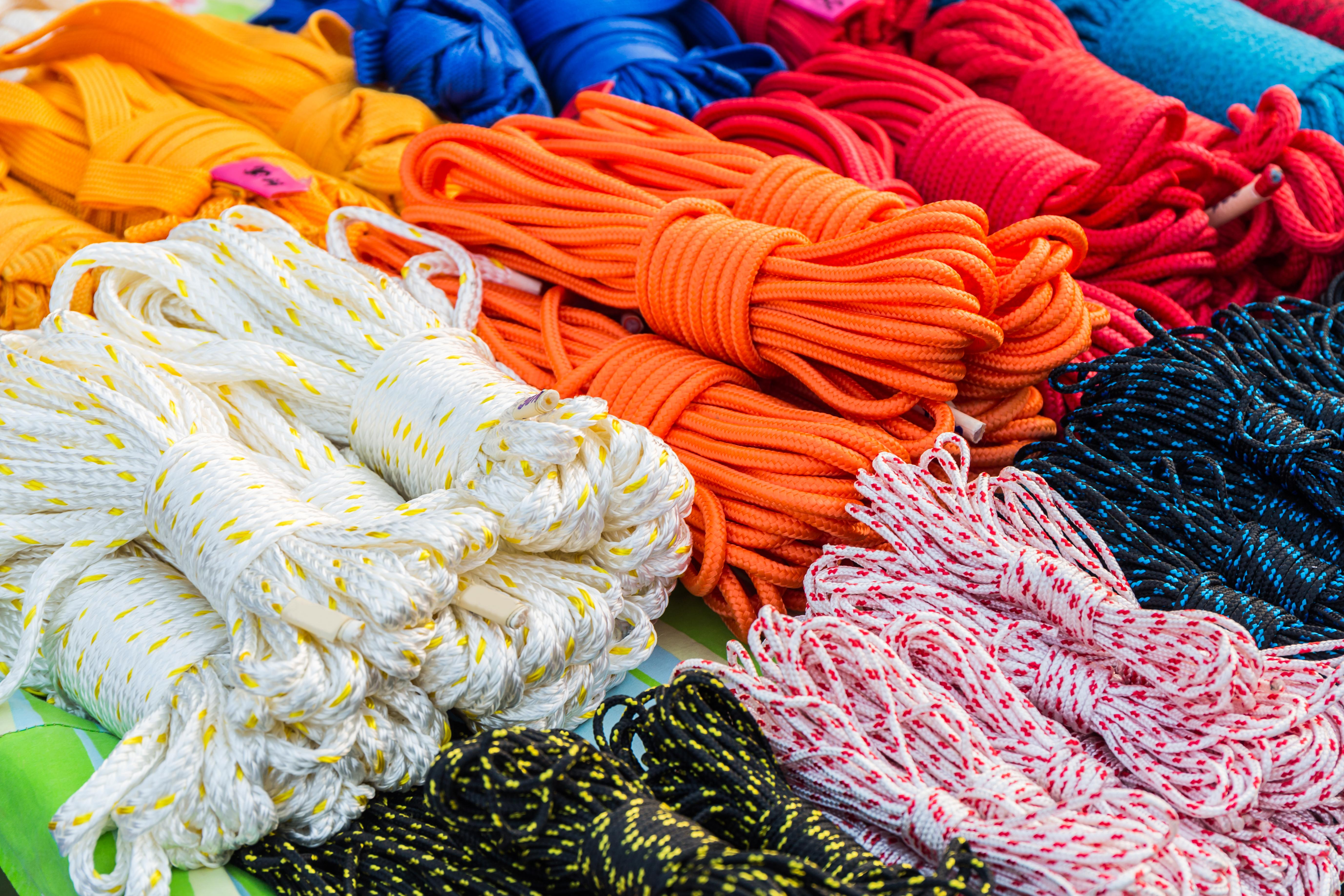 Several colourful types of industrial rope.